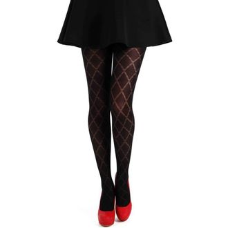 punčocháče PAMELA MANN - Classic Diamond Opaque Tights - Black - PM097