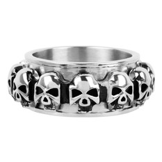 prsten INOX - skulls around, INOX