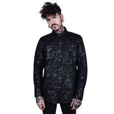 košile pánská KILLSTAR - Dark Ocean Button - BLACK, KILLSTAR